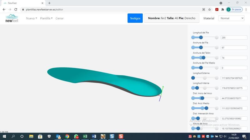 Captura de pantalla de software impresora 3D NewFeet